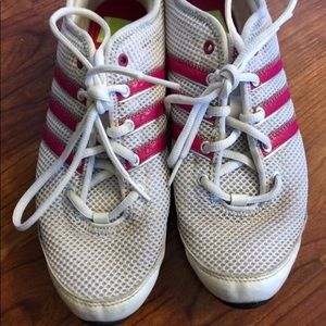 adidas Shoes - Adidas Sneakers Women's White Mesh with Pink Trim